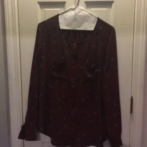 Burgundy print blouse